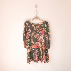 Meadow Rue Minutiae Gray Floral Tunic Dress 12